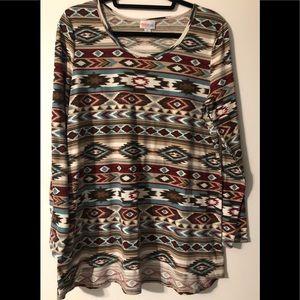LuLaRoe Lynnae long sleeve Aztec/tribal shirt